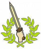 Roman sword and wreath
