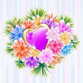 Flower Bouquet With Purple Love Heart