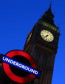 Big Ben And Underground Sign, London