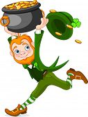 Cute  cartoon Leprechaun running with pot of gold.