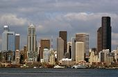 Close Up Of Seattle Financial District With Columbia Tower