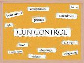 Control de armas Corkboard palabra concepto