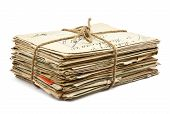 stock photo of old post office  - Stack of old letters on white background - JPG