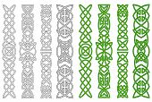 stock photo of celtic  - Green celtic ornaments and elements for medieval embellishments - JPG