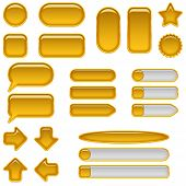 Gold glass buttons, set