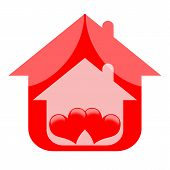 picture of adultery  - Romantic house with red love hearts isolated on white background - JPG