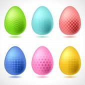 Set of 6 vector patterned Easter Eggs.