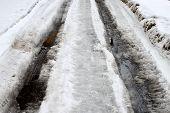 winter road. slush and mud