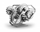 Gears and cogs - mechamism in metal frame