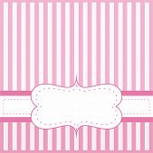 Pink vector card or invitation for baby shower, wedding or birthday party with white stripes