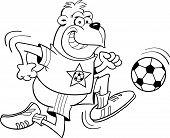Cartoon gorilla playing soccer