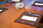 Table appointments- fork,knife,spoon, silk napkin