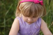 Blond Toddler With Pink Hairband