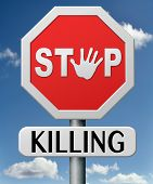 stock photo of killing  - stop killing no guns ban weapons end the war and violence - JPG