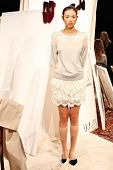 NEW YORK - FEBRUARY 07: The standing model at the Candela Fall 2013 collection Mercedes-Benz Fashion
