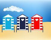 Vector illustration Beach huts at cloudy seaside