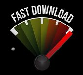 picture of over counter  - fast download speedometer illustration design over a white background - JPG