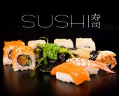 Sushi set  on black background