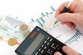 Analyzing Stock Graph, Businessman Workplace