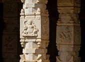 HAMPI, INDIA - FEBRUARY 3: Carved statues in the Hindu temple in Hampi, Karnataka on February 3, 2013. Hampi is located within the ruins of Vijayanagara, the former capital of the Vijayanagara Empire.