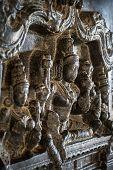 HAMPI, INDIA - FEBRUARY 3: Carved statues in the Hindu temple in Hampi, Karnataka on February 3, 201