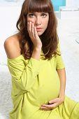 Anxious pregnant woman