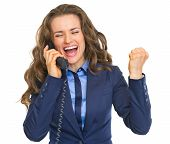 Happy Business Woman Talking Phone And Rejoicing