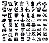 image of no clothes  - vector black washing signs and clothes icon set - JPG