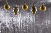A Group Of Christmas Ball And Pine Cone