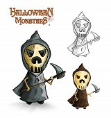 Halloween Monsters Scary Cartoon Grim Reaper Eps10 File.