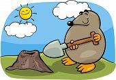 stock photo of mole  - Cartoon Illustration of Funny Cute Mole with Shovel - JPG