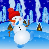Merry Snow Man On A Background Winter Landscape