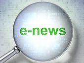 News concept: E-news with optical glass