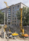 Rostov-on-don, Russia-august 24 - Pile Drivers Clog The Pile On The Construction Of The House