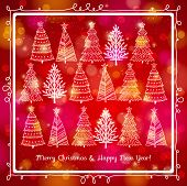 stock photo of alder-tree  - red brightness background with forest of christmas trees vector illustration - JPG
