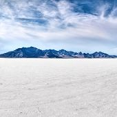 Bonneville salt flats with sky
