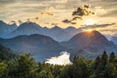 Lake Alpsee in the Bavarian Alps of Germany.