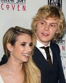 LOS ANGELES - OCT 7:  Emma Roberts, Evan Peters at the