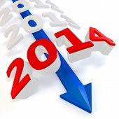 3D Blue Arrow With Year 2014