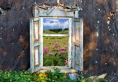 image of abandoned house  - view on mountain - JPG