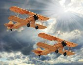 Retro style picture of the biplanes.