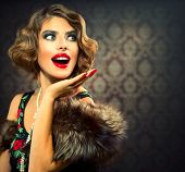 Retro Woman Portrait. Surprised Luxury Lady. Beautiful Woman. Vintage Styled Photo. Old Fashioned Ma
