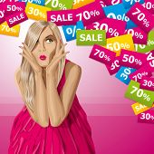 Sale concept. Vector surprised blonde in pink dress do not know what to buy. All layers well organiz