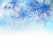 Christmas background with abstract blue snowflakes