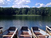 Rowboats At Summer Lake