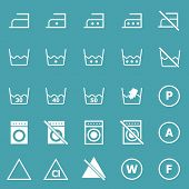 Laundry Icons On Blue Background
