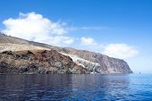 Rugged Guadalupe Island in Mexico where divers go to see great white sharks.