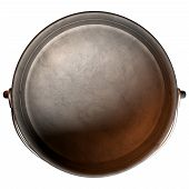 picture of afrikaner  - A top vew of a regular cast iron south african potjie pot with a steel handle and a lid on an isolated background - JPG