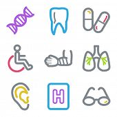 Medicine web icons set 2, color line contour series