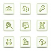Real estate web icons, white glossy buttons